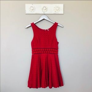 Free People Red Daisy Cut Out Waist Dress